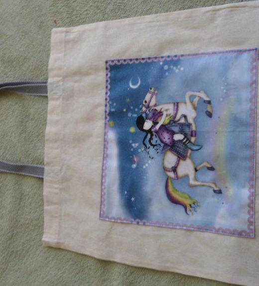 Plátěná nákupní taška s motivem dívky na koni 02