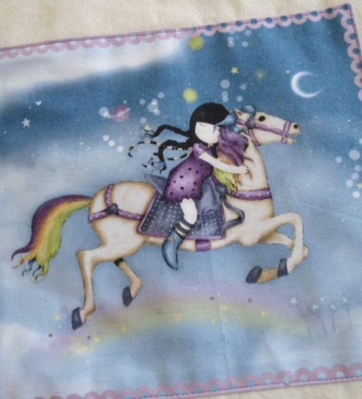 Plátěná nákupní taška s motivem dívky na koni 03