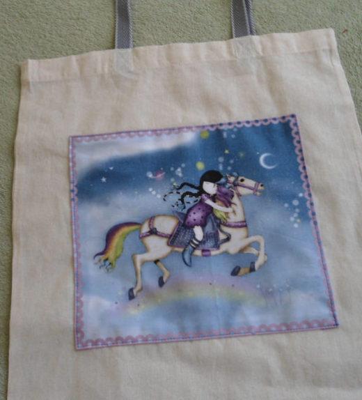 Plátěná nákupní taška s motivem dívky na koni