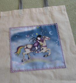 Plátěná nákupní taška s motivem dívky na koni - náhled