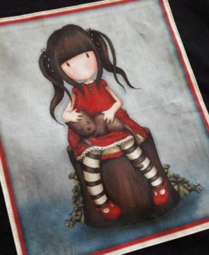 Černá plátěná taška s motivem panenky s kočkou 02