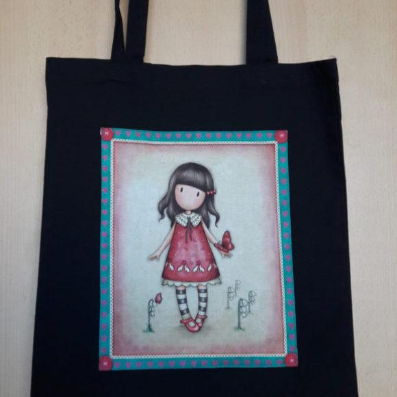Černá plátěná taška s motivem panenky s motýlem